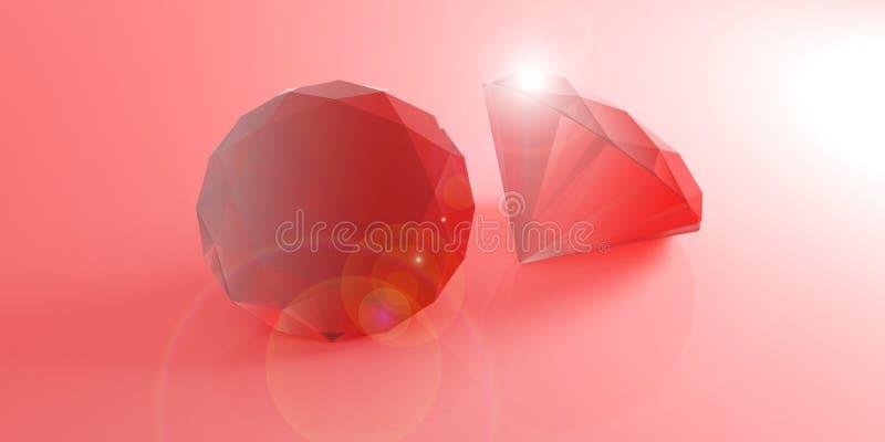 Rubini rossi su fondo rosso illustrazione 3D royalty illustrazione gratis