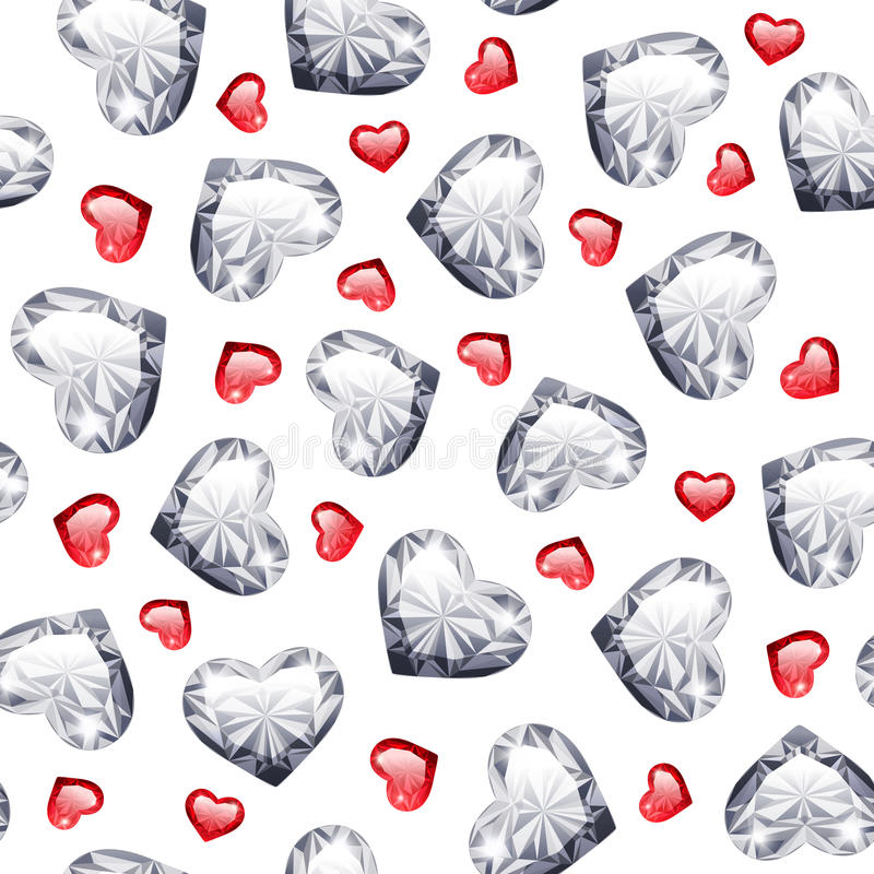 Rubino e Diamond Gem Hearts Seamless Pattern illustrazione vettoriale