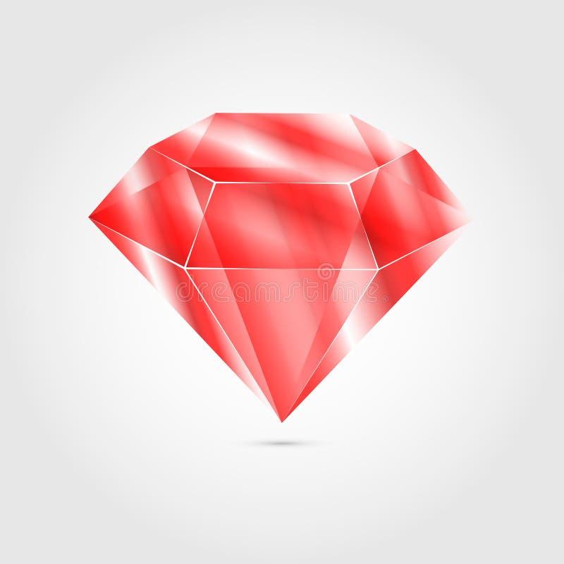 Rubino rotondo rosso realistico della gemma Pietra preziosa variopinta per usando come decorazione di logo, dell'icona o di web illustrazione vettoriale