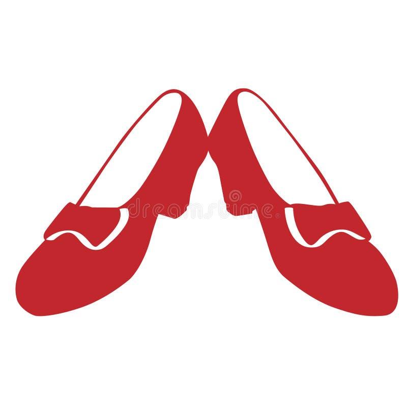 Rubinowi czerwoni kapcie Wręczają patroszonego, Wektorowy, Eps, logo, ikona, crafteroks, sylwetki ilustracja dla różnego używają royalty ilustracja