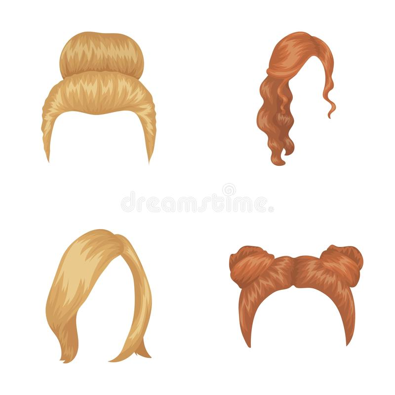 Rubio con un manojo, tipos ondulados y otros rojos de pelo Los iconos determinados de la colección del pelo trasero en estilo de  ilustración del vector