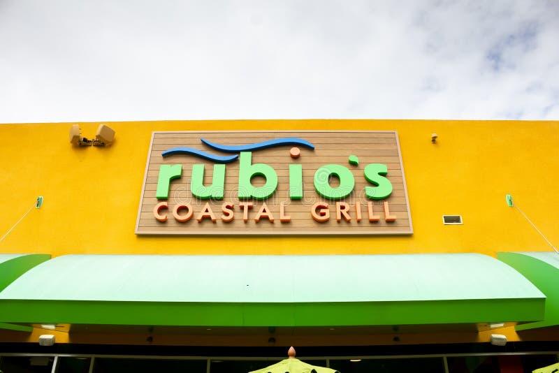 Rubio grilla restauracji Nabrze?ny znak zdjęcia stock