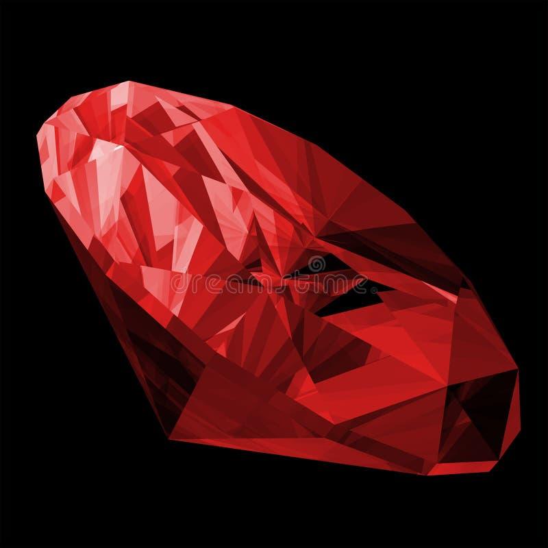 rubis 3d d'isolement par gemme illustration de vecteur
