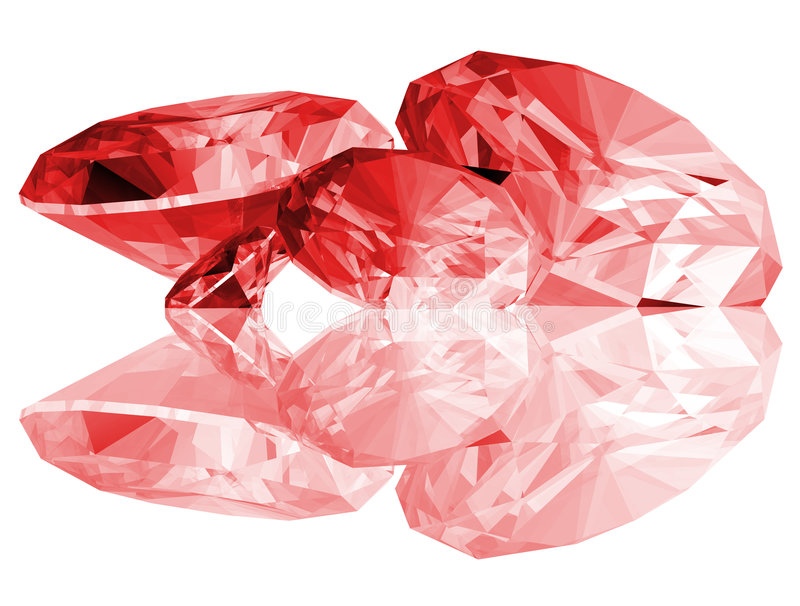 rubis 3d d'isolement par gemmes illustration libre de droits