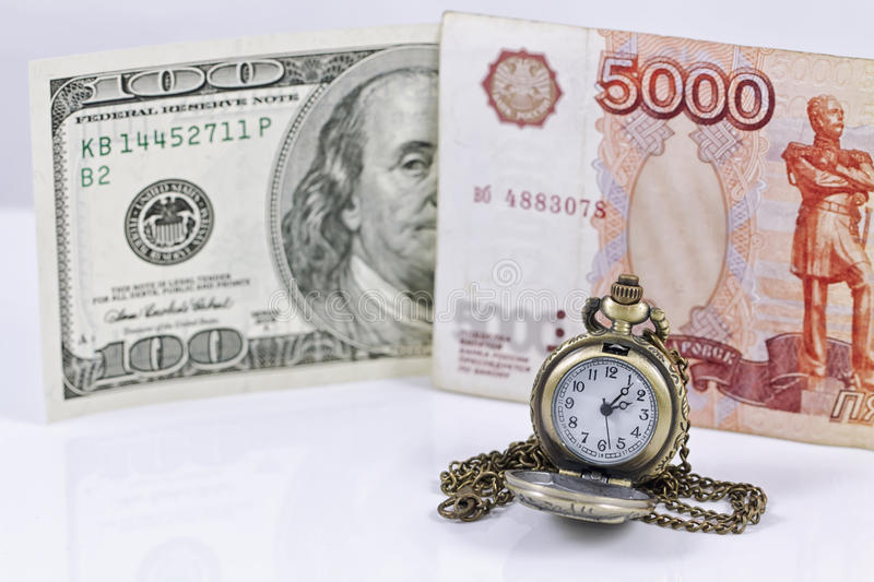 Ruble exchange rate to the dollar royalty free stock photo