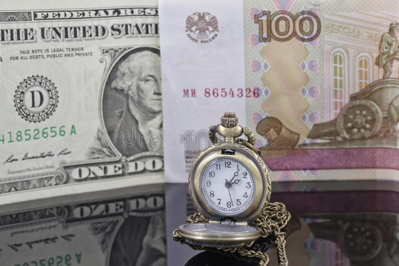 Ruble exchange rate to the dollar stock photo
