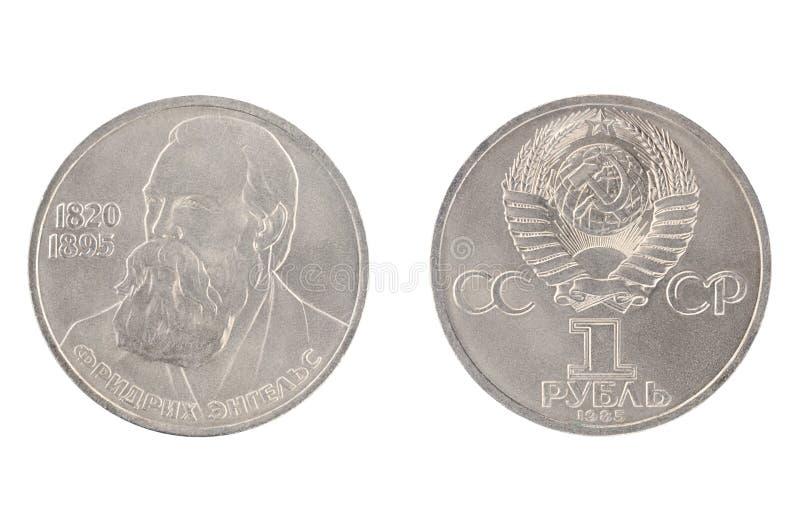 1 ruble från 1985 shower Friedrich Engels 1820-1895 royaltyfria bilder
