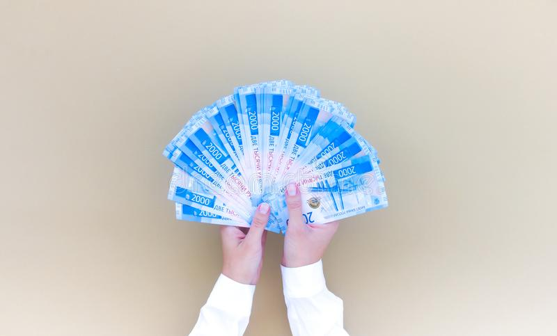 Ruble paper money woman hand top viev royalty free stock photos