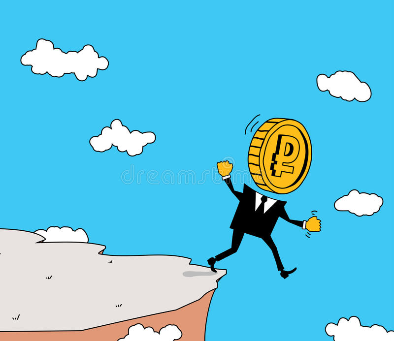 Ruble stepping into the abyss. MONETARY UNIT walks straight into the abyss stock illustration