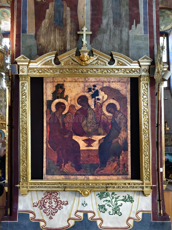 Rublev's Trinity icon. SERRGIEV POSAD, RUSSIA - OKT 16, 2015: Trinity (also called Rublev's Trinity) is a Holy Trinity Icon, believed to be created by Russian royalty free stock images