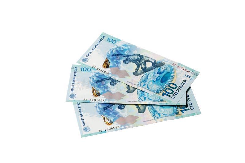 100 rubli di Olympics Russia Soci 2014 fotografia stock