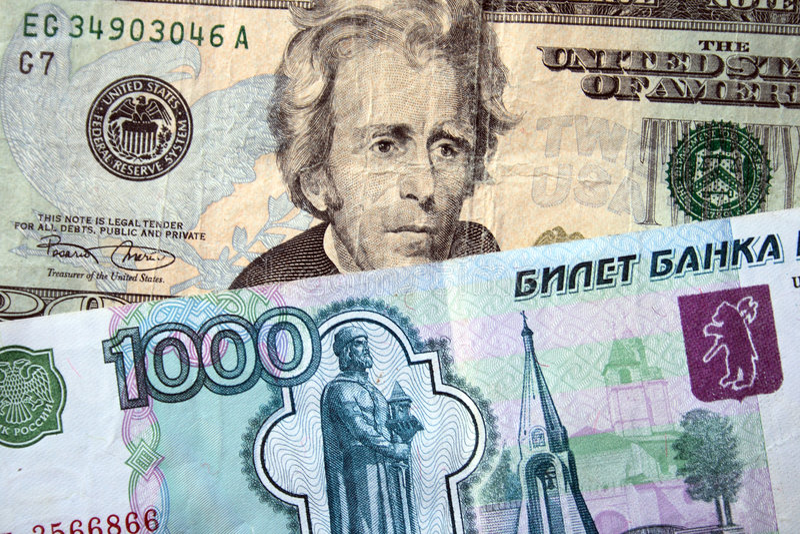 rubli rosjanów amerykańscy dolary fotografia stock