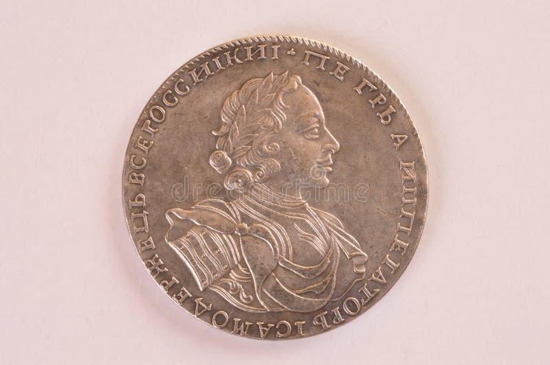 Rublo Rusia de la plata de moneda Peter 1722 A Autócrata del emperador de toda la Rusia fotos de archivo