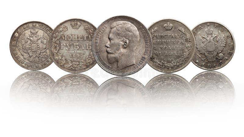 Rublo russa delle monete d'argento della Russia isolata su fondo bianco fotografia stock libera da diritti