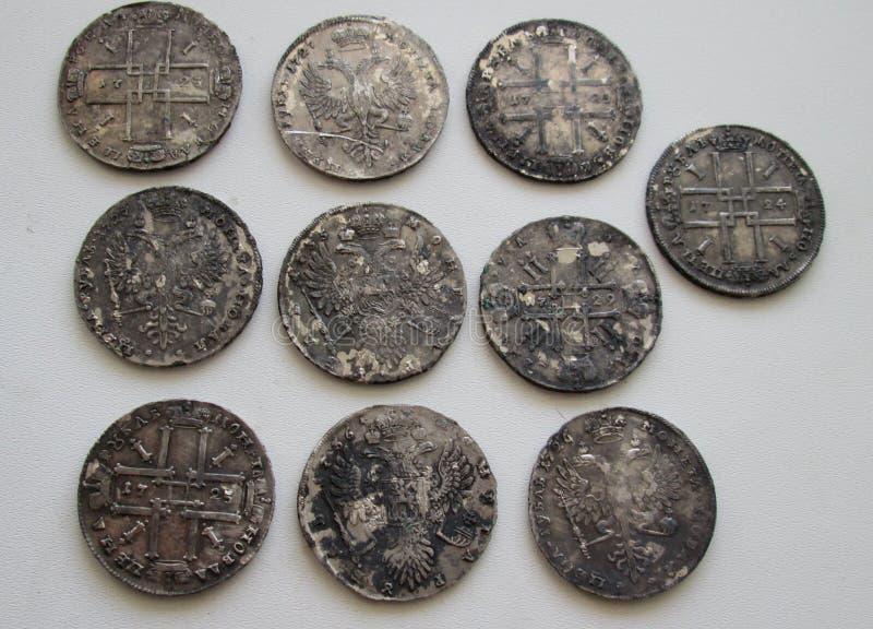 Rublos de plata del imperio ruso foto de archivo libre de regalías