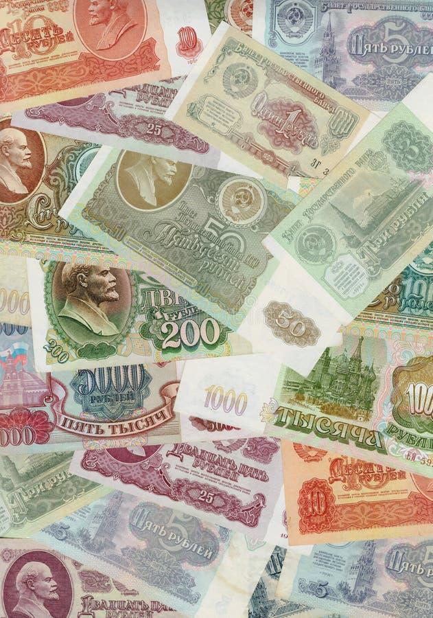 Rublos, dinheiro velho do russo, URSS imagens de stock royalty free
