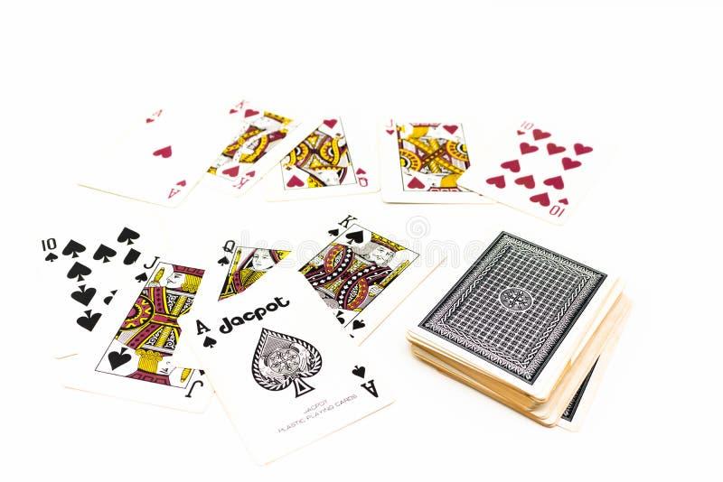 Rubor recto real de las espadas del juego de tarjeta del póker aislado imagen de archivo libre de regalías