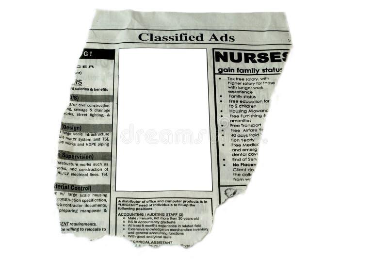 Rubriekadvertenties stock afbeelding