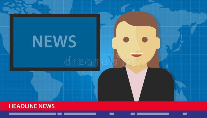 Rubrik för ankarkvinnanyheterna som bryter tv stock illustrationer