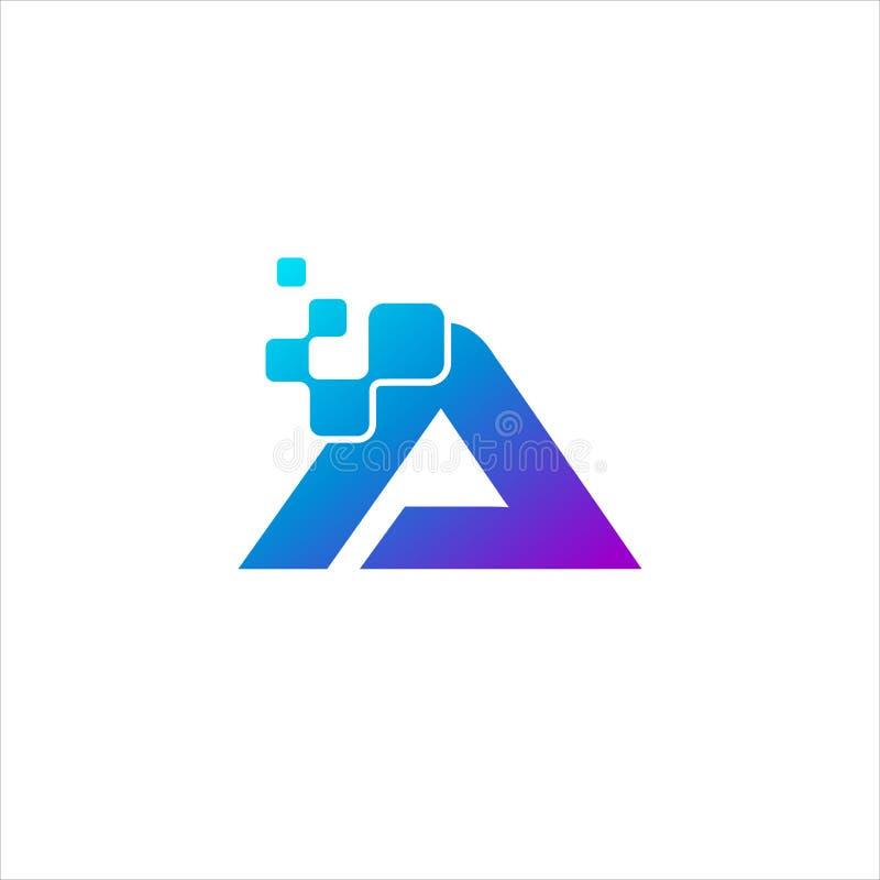 Rubrique a letra de A com logotipo do conceito dos pontos do pixel ilustração royalty free