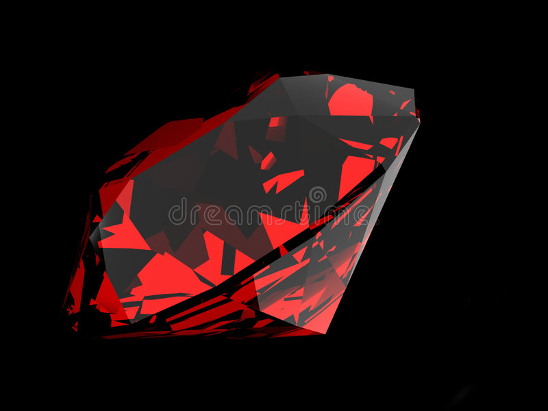 Ruby. 3d rendered ruby on a black background stock illustration