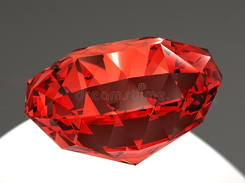 Ruby. On light-grey background with play of light resulting from refraction stock illustration