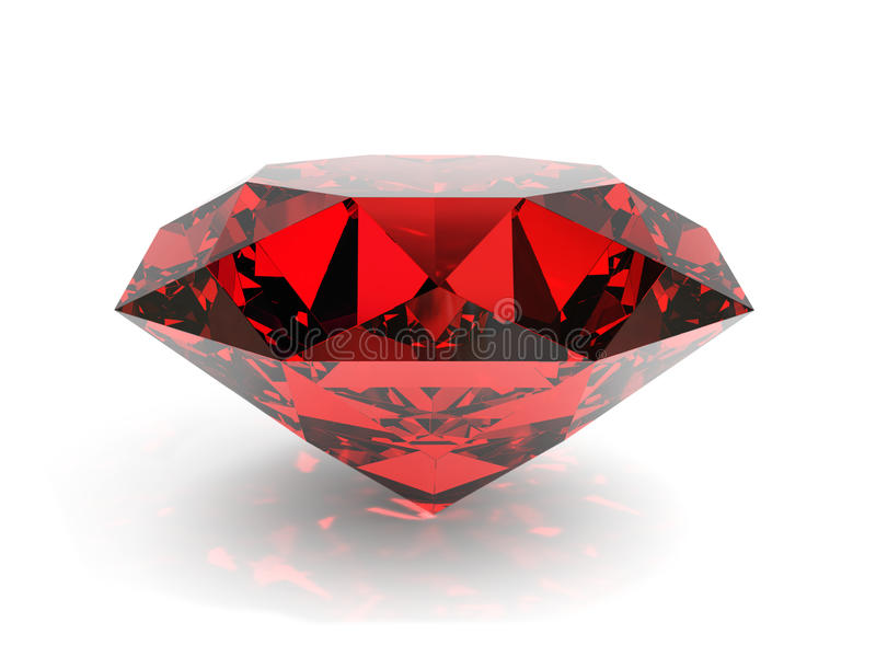 Ruby. Very high resolution 3d rendering of a ruby isolated over white stock illustration