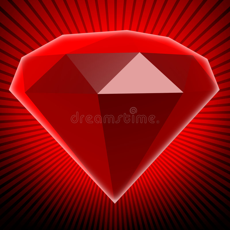 Ruby. The big red ruby. 3d rendered image royalty free illustration