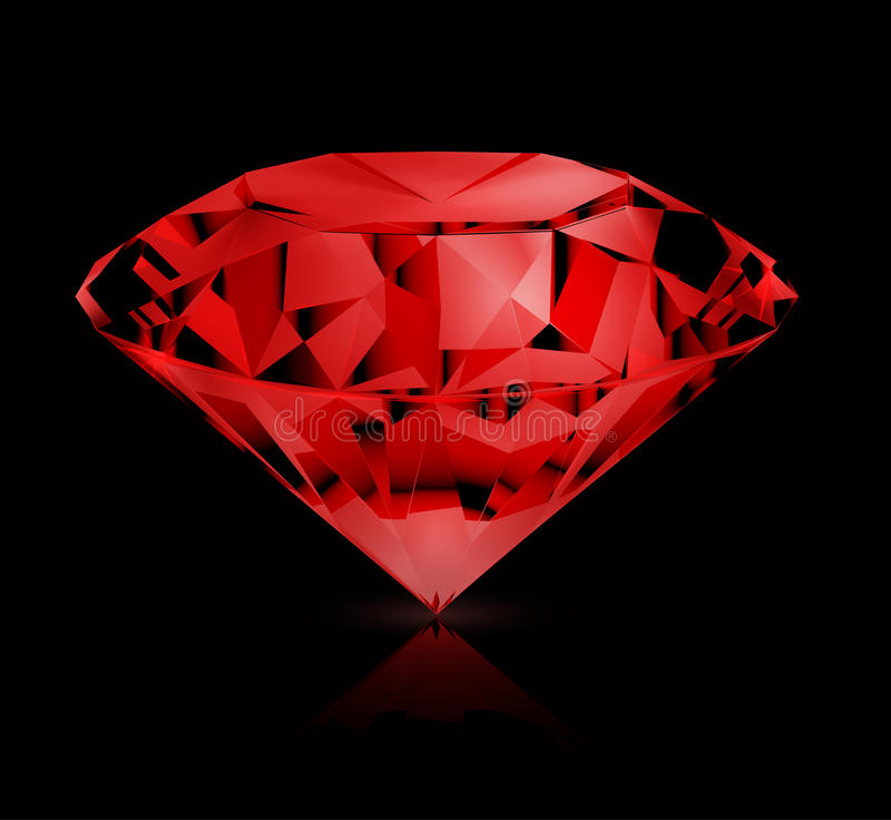 Ruby. Icon, on the black stock illustration