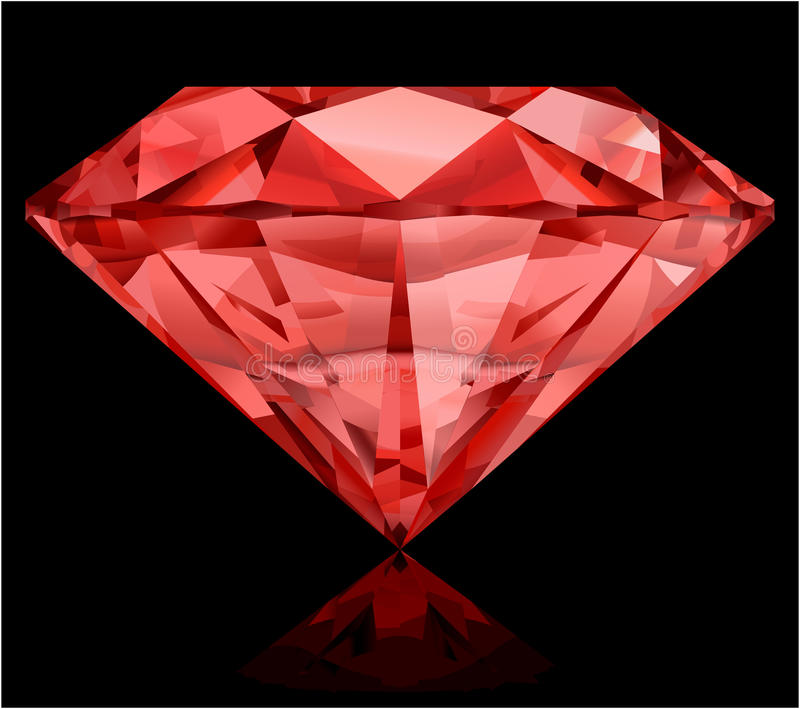 Ruby. Realistic ruby on black background vector illustration