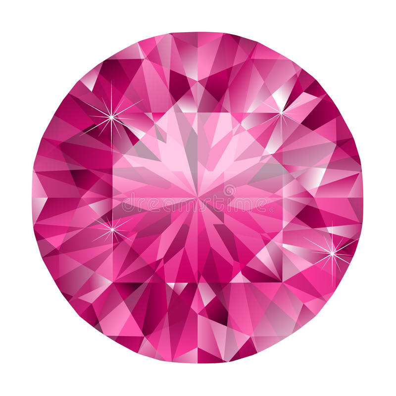Ruby. Vector illustration of realistic pink ruby royalty free illustration