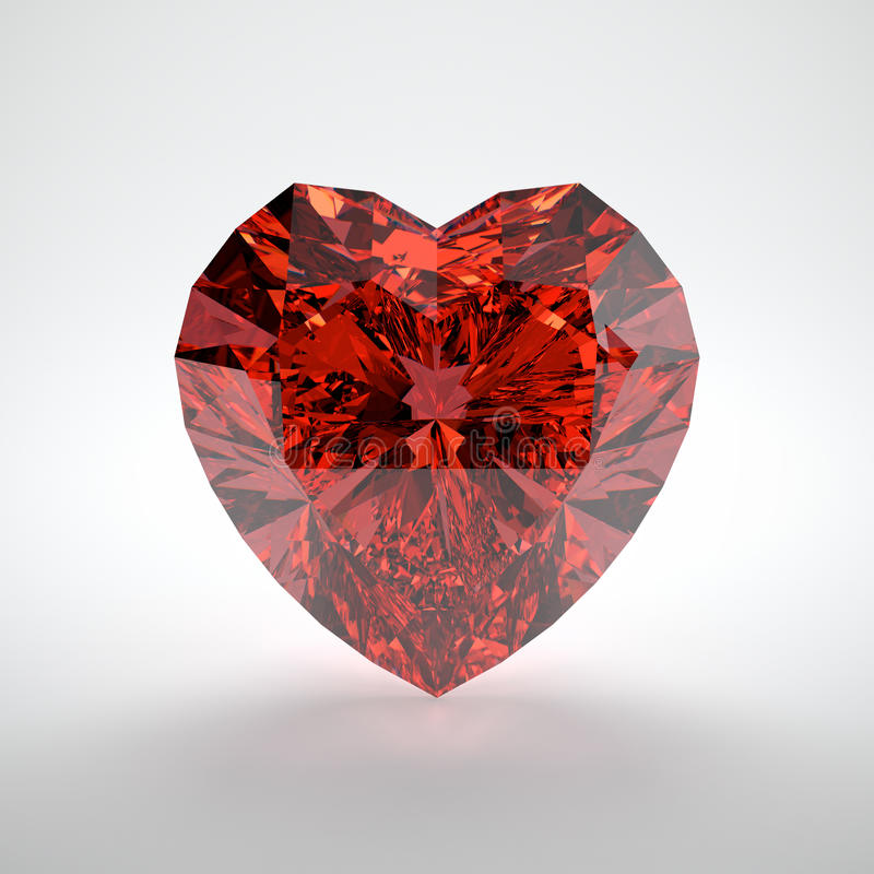Ruby. 3D illustration of heart shaped ruby on white background stock illustration