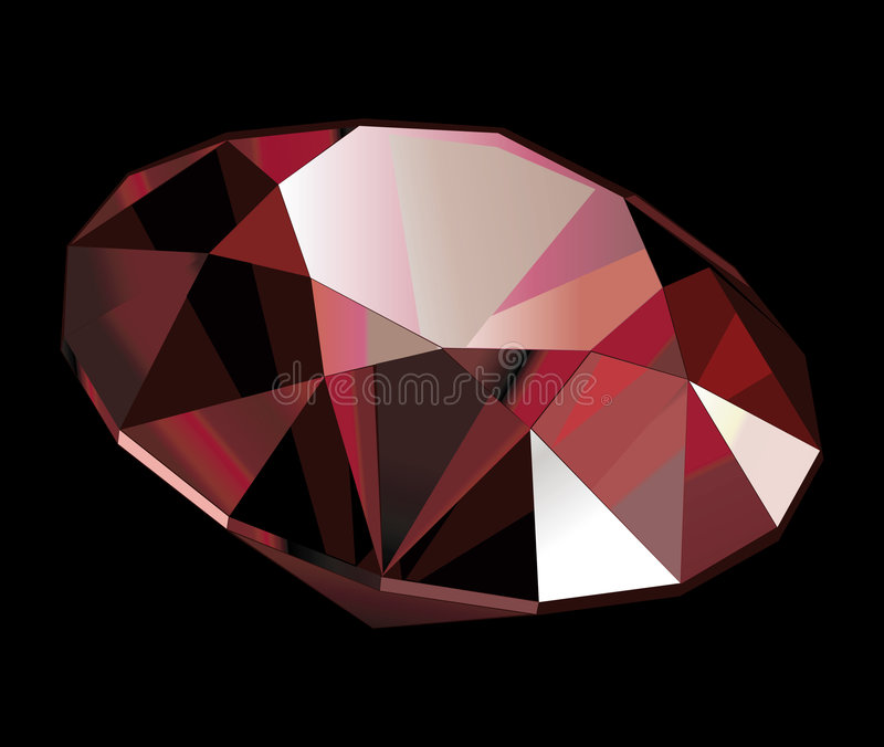 Ruby. Vector illustration of a ruby on black background stock illustration