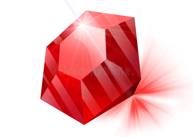 Ruby. Red ruby lies on a white background, it is refracted light, discarding light rays royalty free illustration