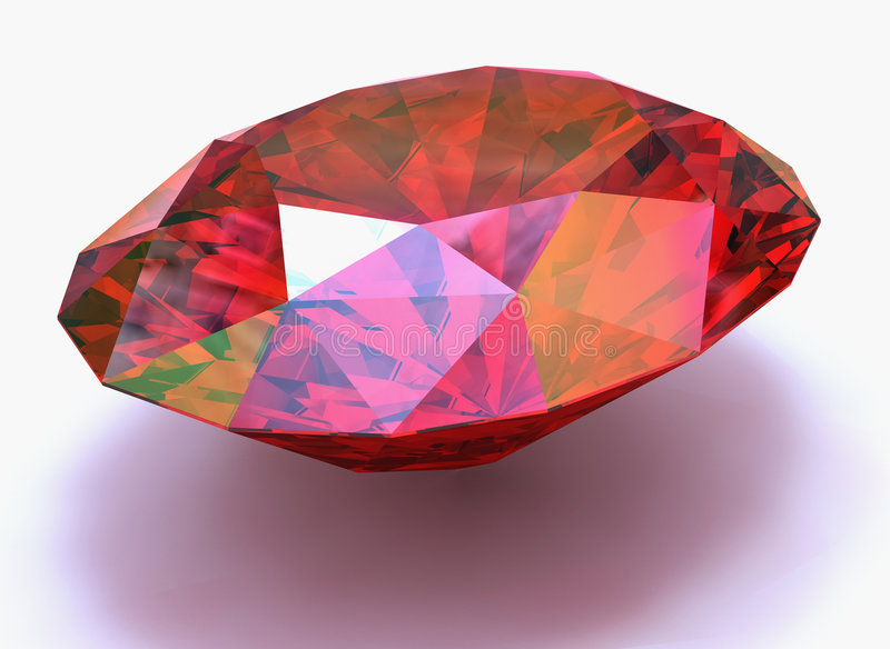Ruby. Single ruby oval cutted on white ground royalty free illustration