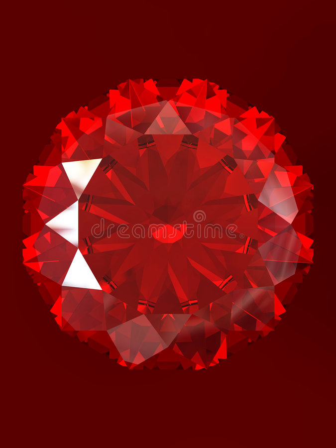 Ruby. With reflection isolated on red background. Correct Index of Refraction. Clipping path royalty free illustration