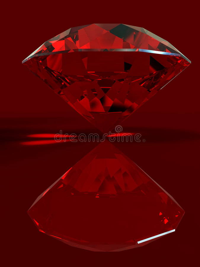 Ruby. With reflection isolated on red background. Correct Index of Refraction. Clipping path vector illustration