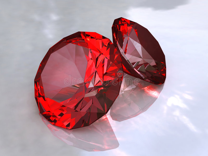 Ruby. The faceted Ruby on a white background royalty free illustration