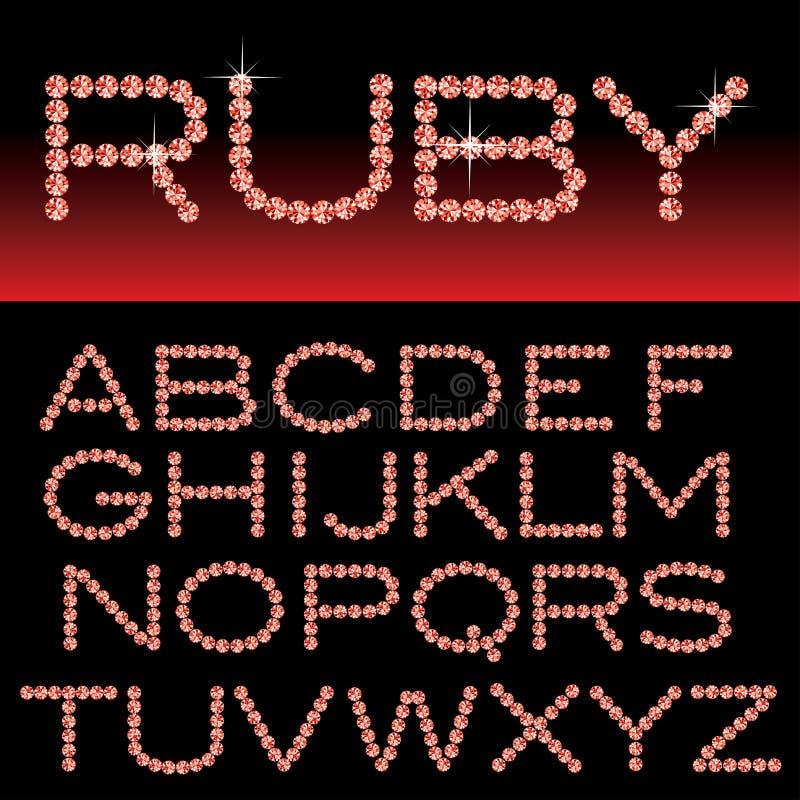 Ruby alphabet. Vector alphabet with ruby rocks stock illustration