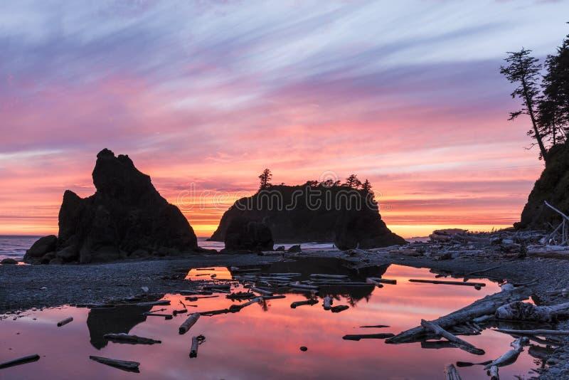 Ruby Beach Sunset Silhouette vibrante imagem de stock