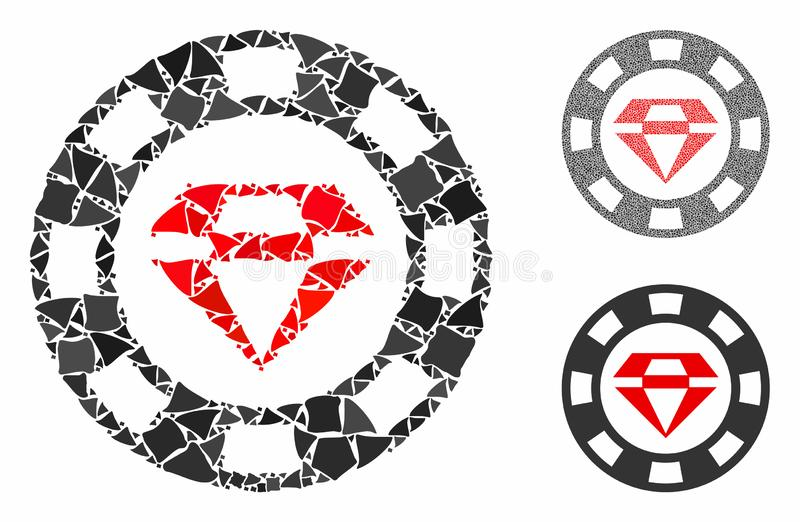 Ruby casino chip Mosaic Icon of Tuberous Items. Ruby casino chip mosaic of abrupt pieces in variable sizes and color hues, based on ruby casino chip icon. Vector stock illustration