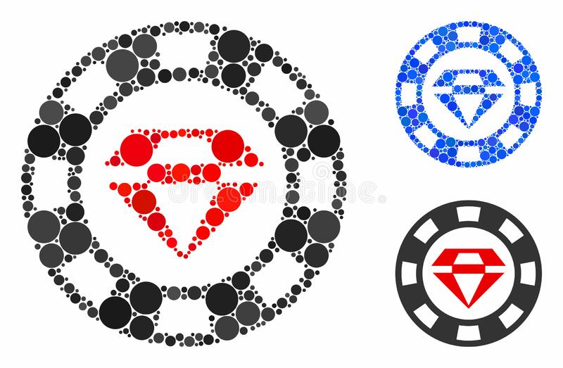 Ruby casino chip Mosaic Icon of Circle Dots. Ruby casino chip composition for ruby casino chip icon of round dots in different sizes and shades. Vector round vector illustration