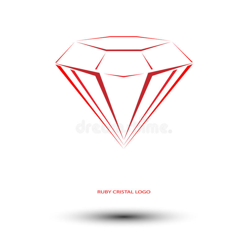 Ruby cristal logo. Red ruby sign stock illustration
