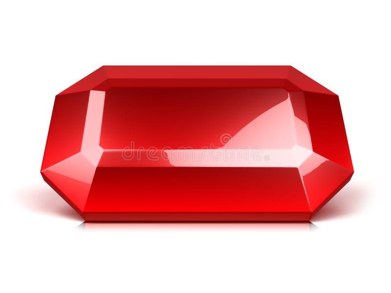 Ruby crystal isolated. Red ruby crystal isolated on white stock illustration