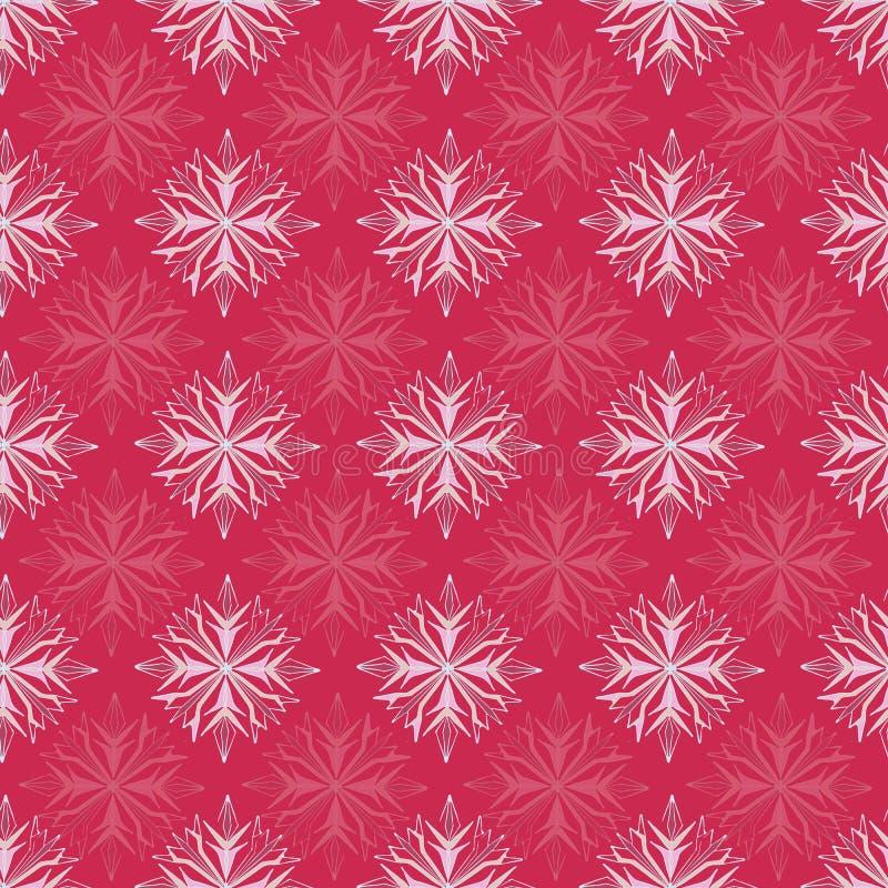 Ruby de Noël Motif du Flocon rouge Snowflake Impression vectorielle sans pareille illustration de vecteur