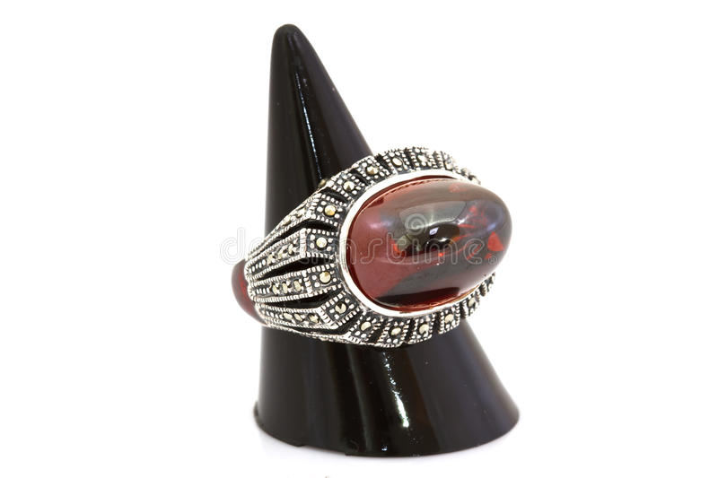 Ruby and diamond bezel style ring. On white royalty free stock images
