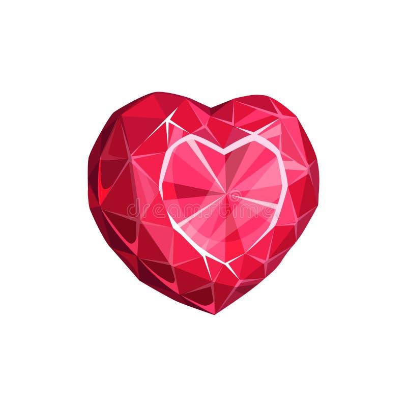 Ruby or diamond heart shape gemstone. Red gem in shape of heart isolated precious stone. Vector ruby gemstone, diamond jewelry royalty free illustration