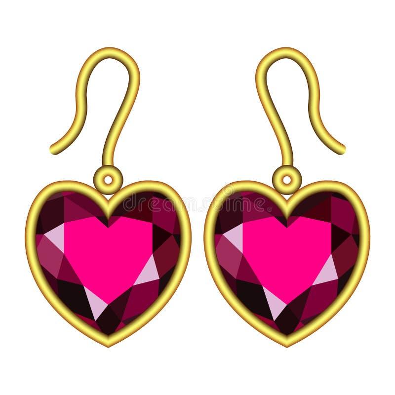 Ruby earrings mockup, realistic style stock illustration