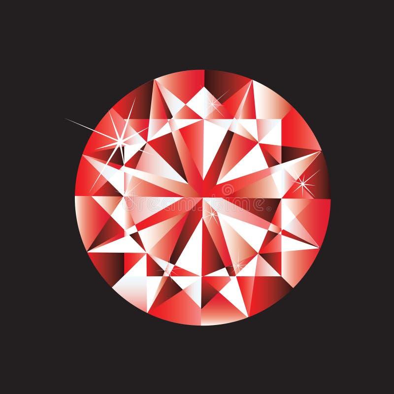 Ruby gem. Vector illustrated ruby gem on black background royalty free illustration