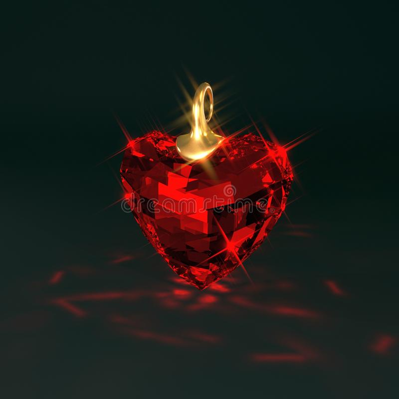 Ruby gem heart, 3d illustration stock illustration